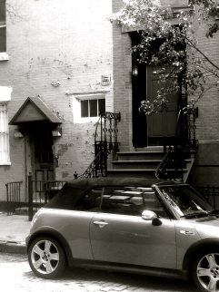 Near Jane Street, West Village, Tangerine MiniCooper, b&w
