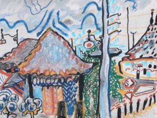 The Railroad Depot, Hot Day, Santa Fe :: oil pastel and chalk ::  Rebecca Pyle :: 2015 :: rebeccapyleartist.wordpress.com