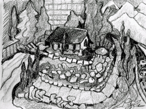 Gray House on Corner, Surrounded by Rock Garden, charcoal sketch