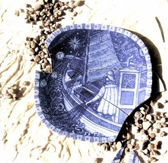 The Milk Sea, cement and broken Swedish plate on canvas, Rebecca Pyle, 2017