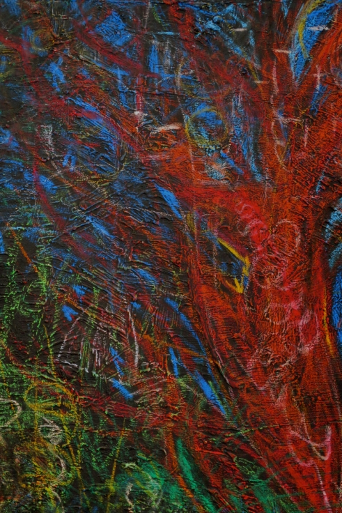 Rebecca Pyle The August Tree Beeswax crayon and acrylic on canvas