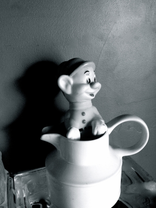 Figurine in a Cream Pitcher, b&w
