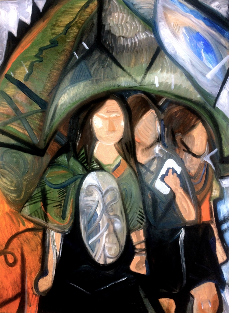 Three Angry Girls under an Umbrella