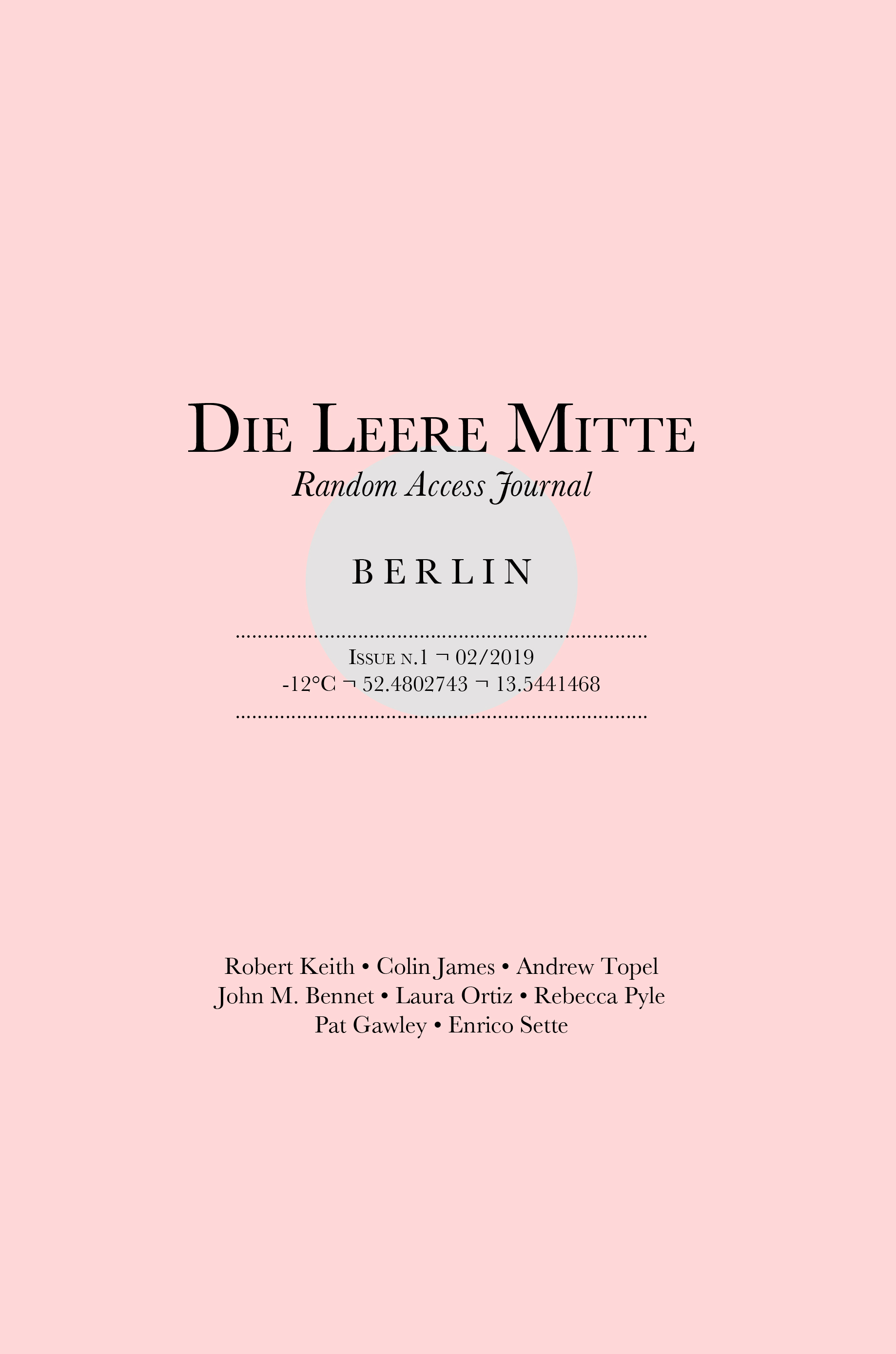 FrontCover Die Leere Mitte issue one