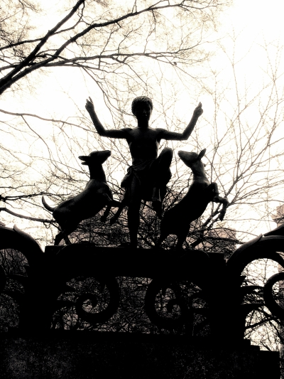 In Central Park, Boy with Two Dancing Goats, b&w
