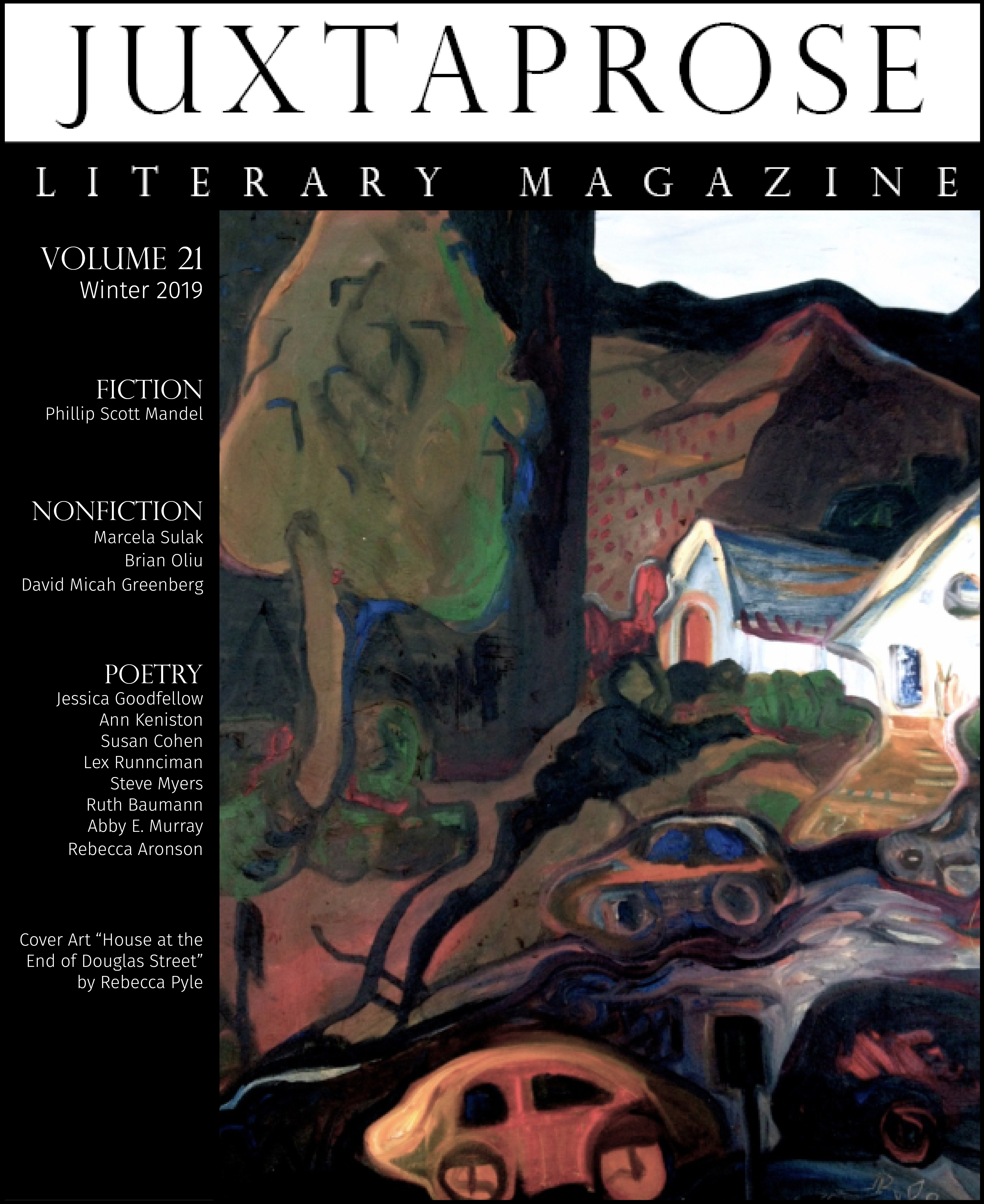 Cover art JuxtaProse art:lit journal volume 21 Rebecca Pyle
