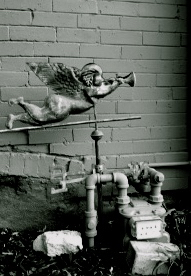 Angel with Trumpet; Water Meter, b&w
